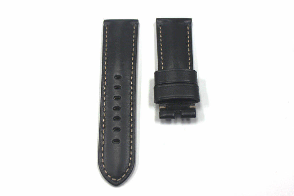 24mm Genuine Handmade Calf Leather Strap - Black #1803 - Watch Aficionado 24 - 1