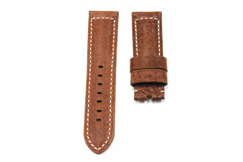 24mm Genuine Handmade Calf Leather Strap - Brown #1805