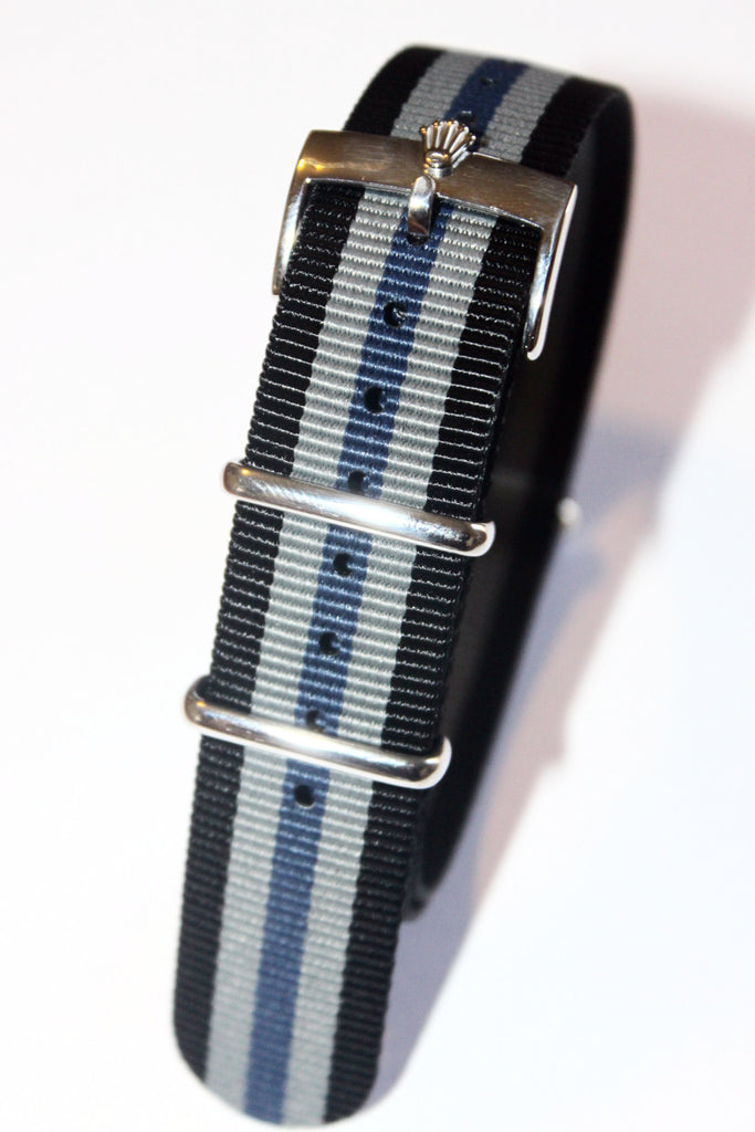 20mm NATO Strap with Silver Polish Rolex Buckle - Black Grey Blue - Watch Aficionado 24