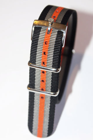 20mm NATO Strap with Silver Polish Rolex Buckle - Black Grey Orange