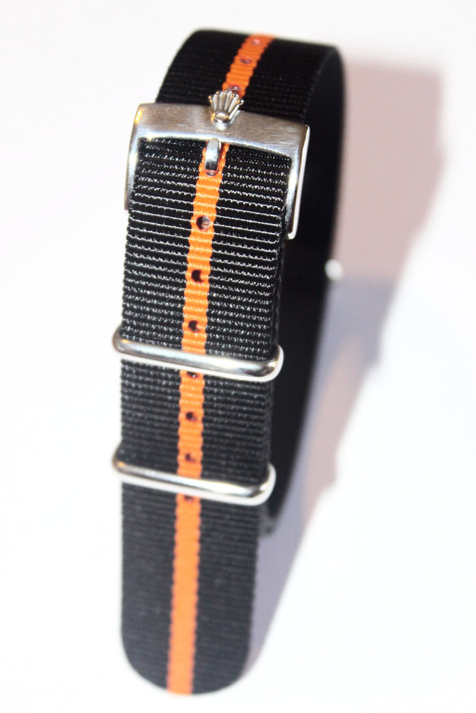 20mm NATO Strap with Silver Polish Rolex Buckle - Black Orange - Watch Aficionado 24