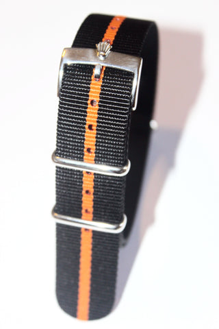 20mm NATO Strap with Silver Polish Rolex Buckle - Black Orange