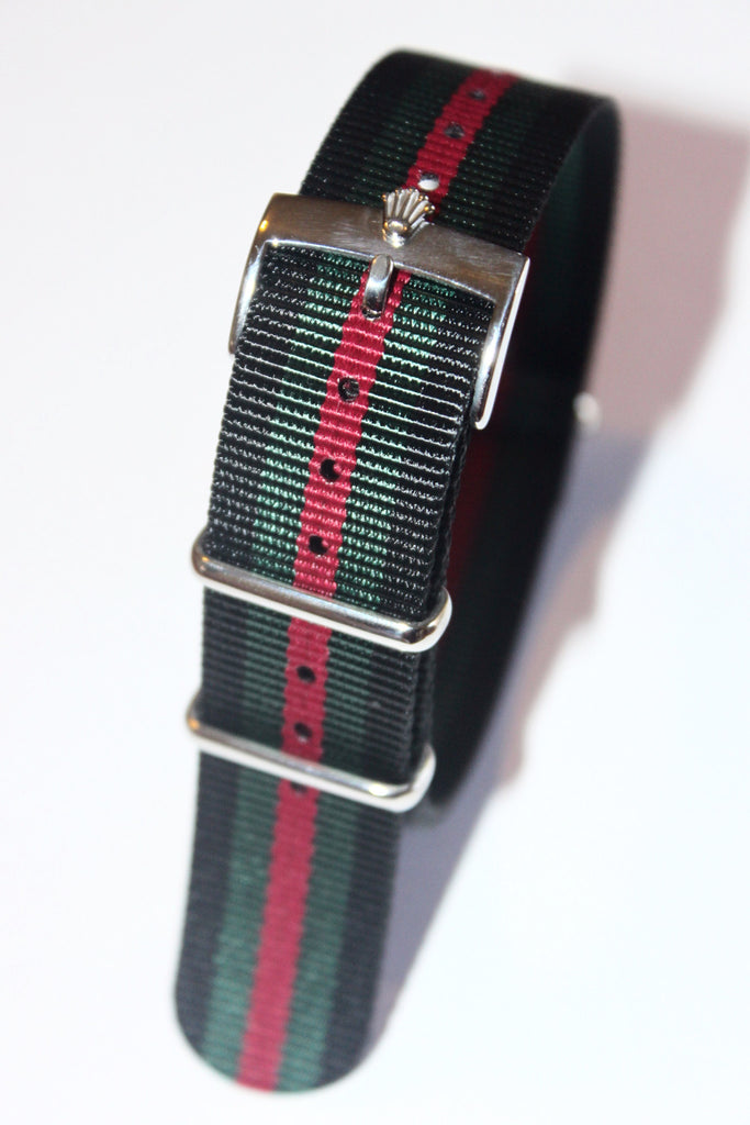20mm NATO Strap with Silver Polish Rolex Buckle - Black Green Red - Watch Aficionado 24