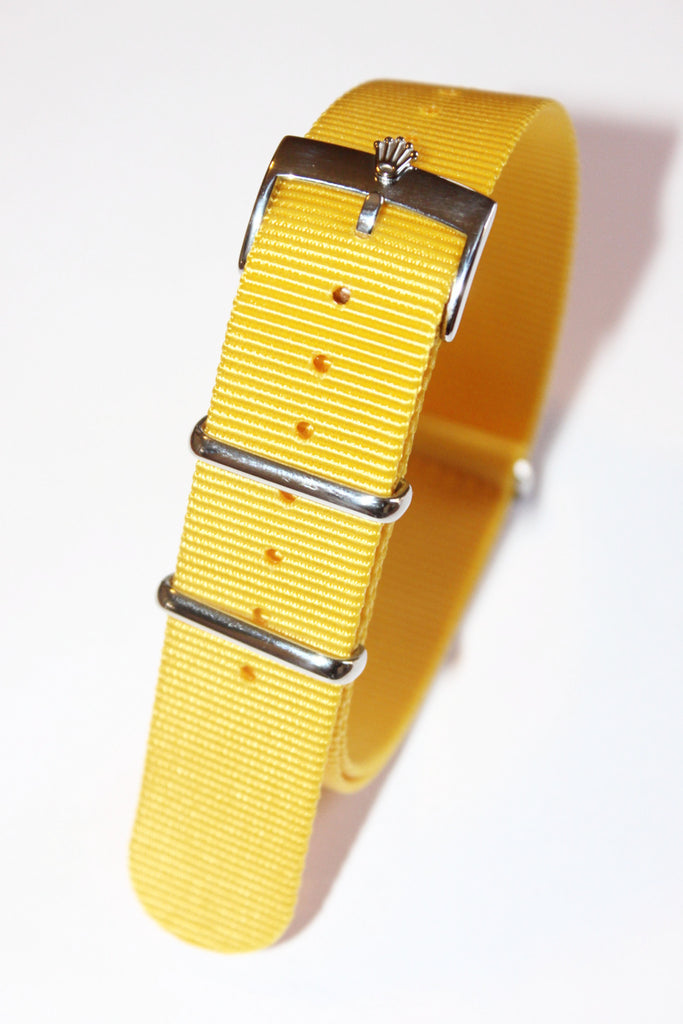 20mm NATO Strap with Silver Polish Rolex Buckle - Yellow - Watch Aficionado 24