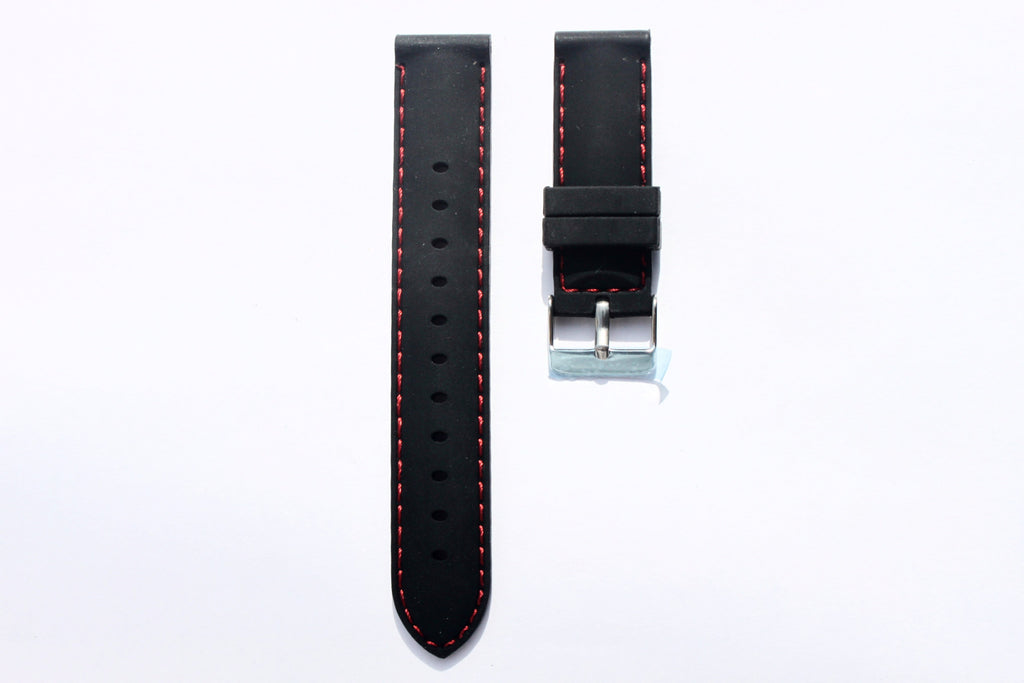 20mm Silicone Rubber Strap - Black with Red Stitches - Watch Aficionado 24 - 1