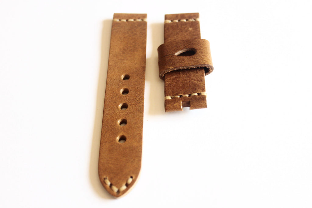 22mm Handmade Genuine Leather Strap - Brown 1725C - Watch Aficionado 24 - 1