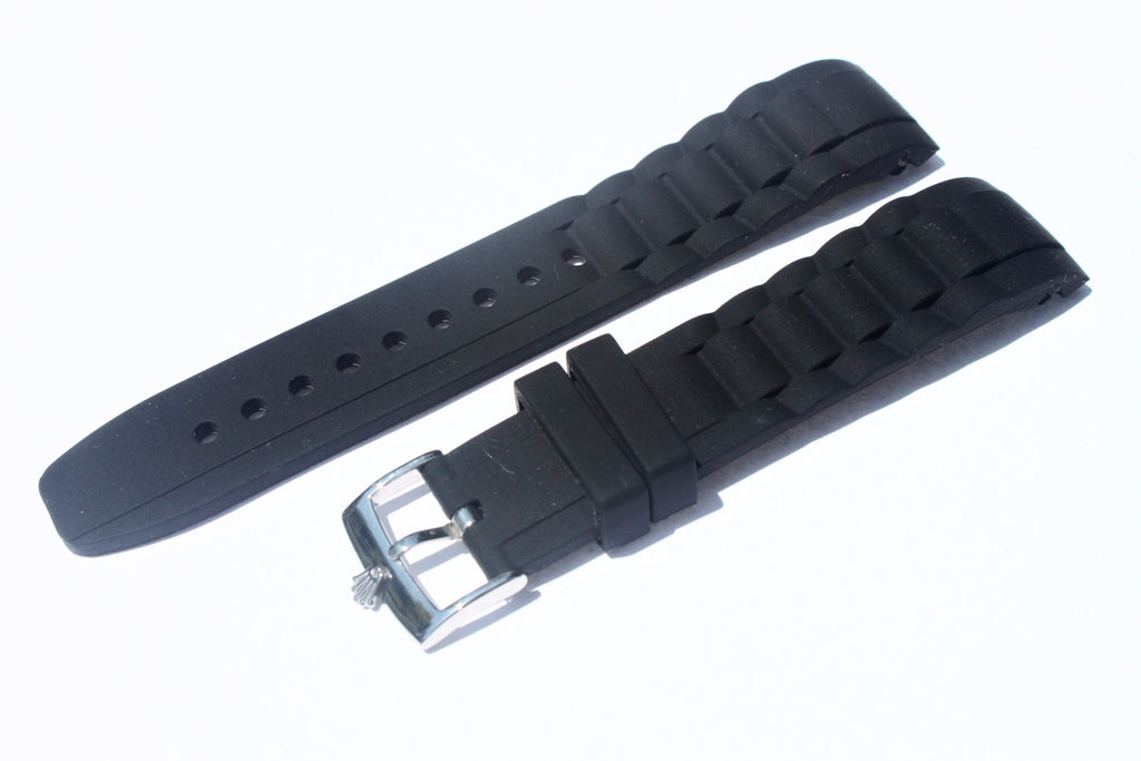 20mm Curved Silicone Rubber Strap with Rolex Polish Stainless Steel Buckle - Black - Watch Aficionado 24 - 1