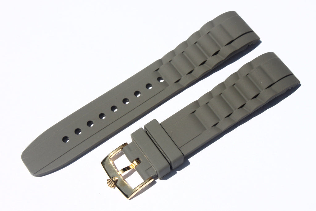 20mm Curved Silicone Rubber Strap with Rolex Gold Plated Buckle - Grey - Watch Aficionado 24 - 1