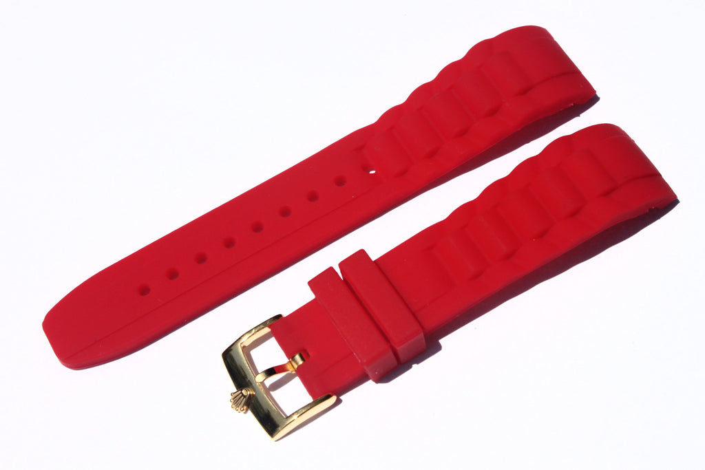 20mm Curved Silicone Rubber Strap with Rolex Gold Plated Buckle - Red - Watch Aficionado 24 - 1