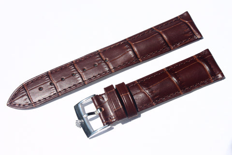 20mm Genuine Alligator Pattern Watch Straps Bands with Rolex Stainless Steel Polish Buckle