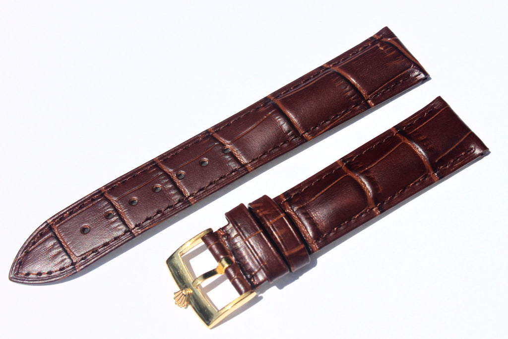 20mm Genuine Alligator Pattern Watch Straps Bands with Rolex Gold Plated Polish Buckle - Watch Aficionado 24