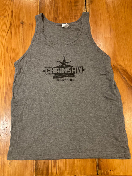 Unisex Grey Chainsaw Logo Tank Top