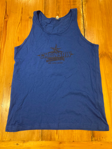 Unisex Blue Chainsaw Logo Tank Top