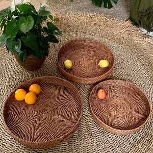 Wicker Round Tray Brown - IrregularLines