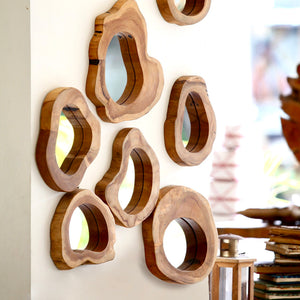 Teak small Mirror - IrregularLines
