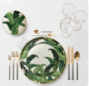 BANANA LEAF PLATES WITH GOLD RIM - IrregularLines