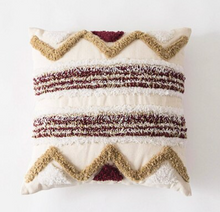 Load image into Gallery viewer, Khaki Red Boho Style Cushion - IrregularLines