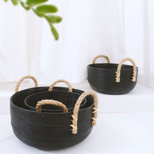 Load image into Gallery viewer, Keke Round Basket With Handle Black - IrregularLines
