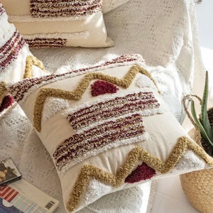 Khaki Red Boho Style Cushion - IrregularLines