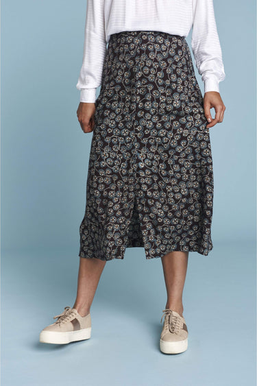 Woven Printed Coffee Yolanda Long Skirt