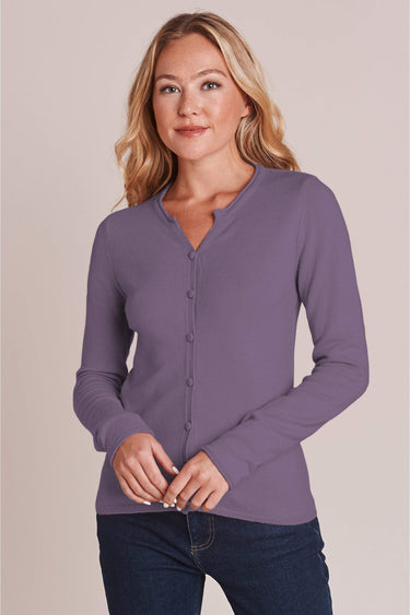 Notch Neck Fitted Cardi in Smokey Grape