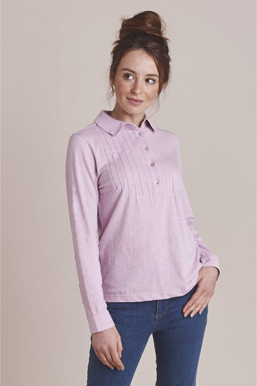 Pintuck Cotton Shirt in Winsome Lilac