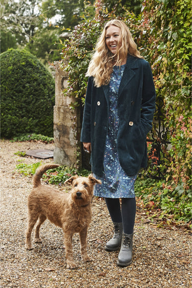 Walking The Dog Cord Coat in Atlantic Deep