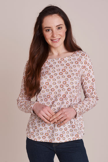Fruity Printed Side Button Top