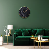 Structure Wall Clock Black Marble