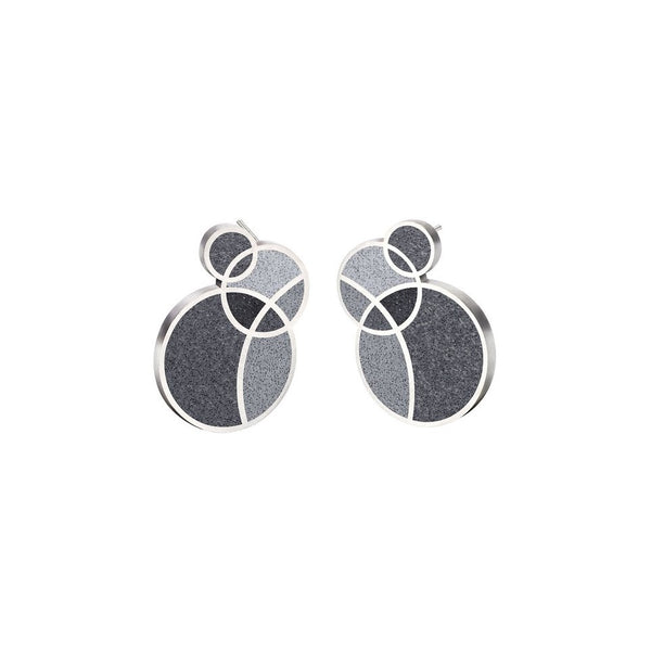 March Balloons Black - Small Concrete Earring Studs