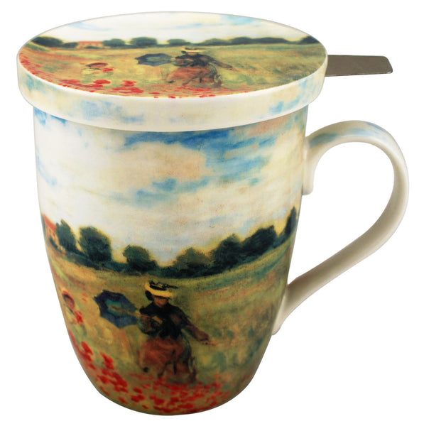 Claude Monet: Poppies Tea Mug with Infuser and Lid