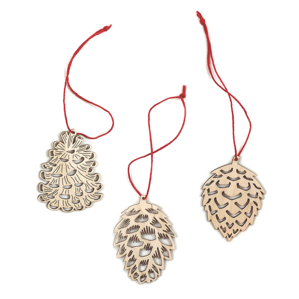Pinecone Ornaments - Set of 3