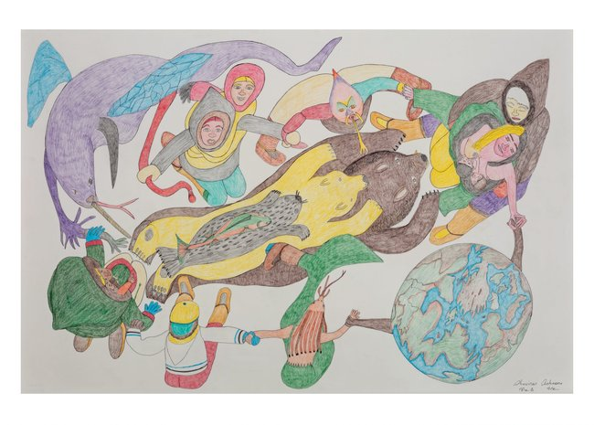 """Shuvinai Ashoona Postcard, """"Composition (People, Animals, and the World Holding Hands)"""""""