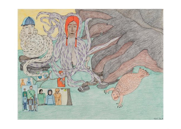 "Shuvinai Ashoona Postcard, ""Composition (Red Headed Octopus)"""