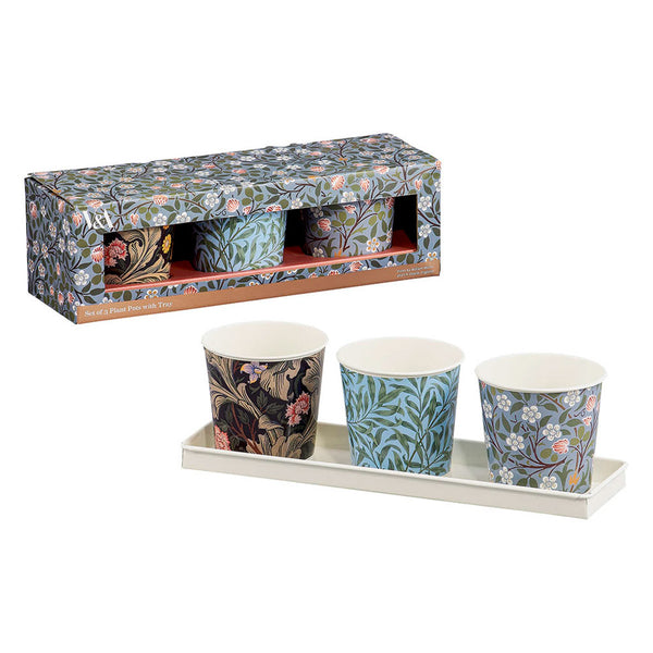 V&A Set of 3 Plant Pots with Tray