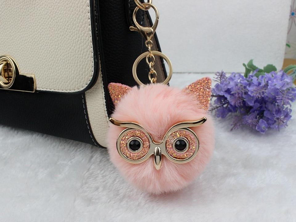 Fluffy owl key-ring with diamante eyes - fluffyfindings