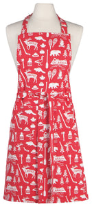 O Canada Apron. 100% cotton features adjustable neck and long ties. Overall motif of Canadiana.