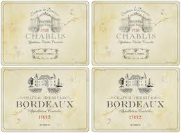 Pimpernel Vin De France set of 4 placemats. Cork backed laminated hardboard. Easy clean. 2 chablis and 2 bordeaux prints in each set. Gift packaged.
