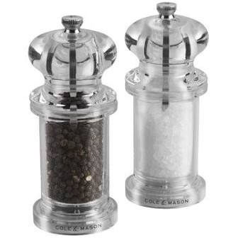 Classically styled salt and pepper mills in acrylic by Cole & Mason. 13.5 cm tall. Salt and pepper included, gift boxed.