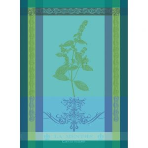 Brin de Menthe tea towel from Garnier Thiebaut features a lovely graphic of the mint plant on a stunning background of turquoise and shades of blues and greens. 100% cotton, made in France. 22 x 30 inches.