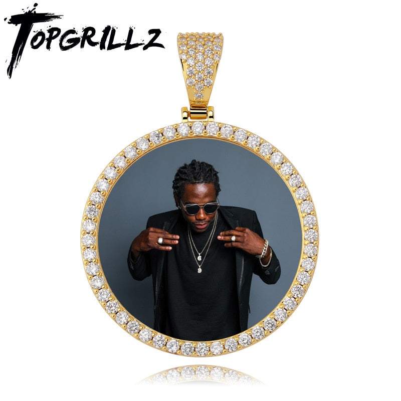 TOPGRILLZ Custom Made  Photo Round Medallions Cubic Zircon Pendant&Necklace With 4mm Tennis chain Hip Hop Jewelry For Men Women