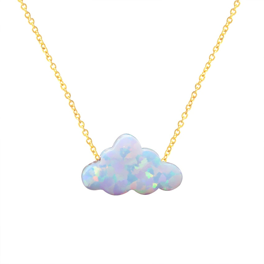 2020 New Design Cloud Shape Opal Necklace for Women Handmade Necklace With Stainless Steel Chain Christmas Gift Jewelry