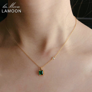 LAMOON 925 Sterling Silver Synthetic Emerald Necklace For Women Retro Princess Cut Stone 14K Gold Plated Fine Jewelry LMNI097