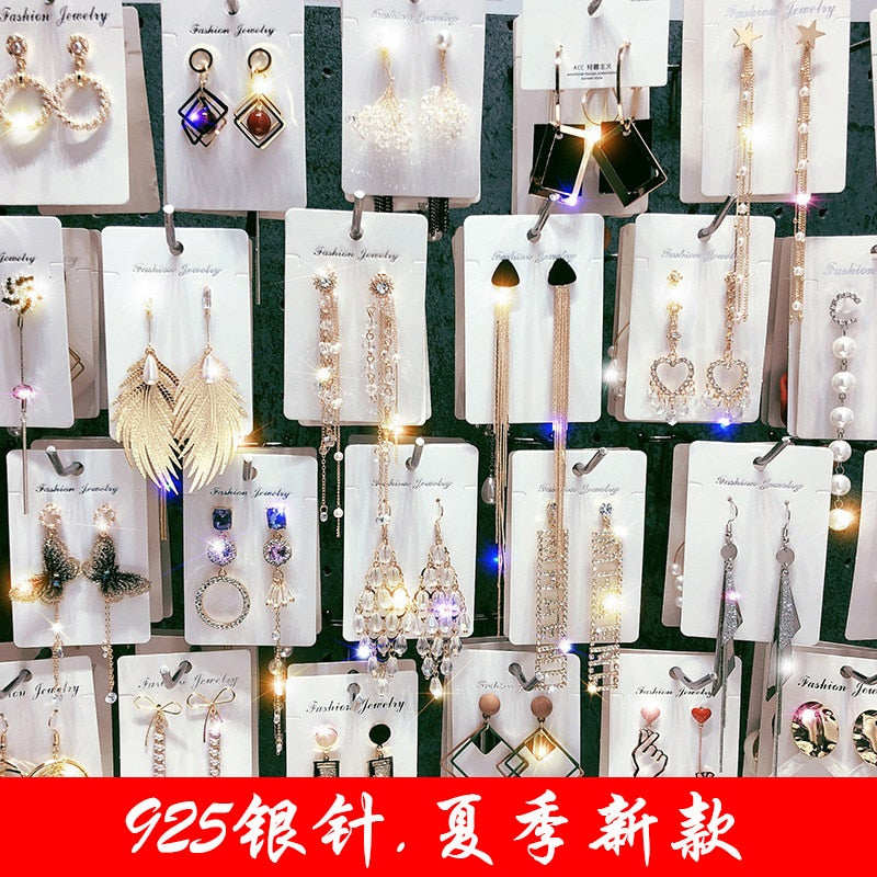 New needle long pearl earrings female fashion temperament simple anti-allergy earrings summer personality net ornaments