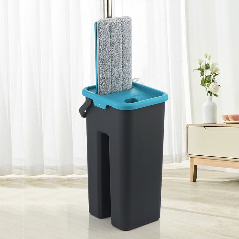 Magic Cleaning Microfiber Mop and Bucket Free Hand Mop with Bucket Floor Flat Mop Home Kitchen Floor Cleaner tool Drop Shipping - BrandsMafia LLC.