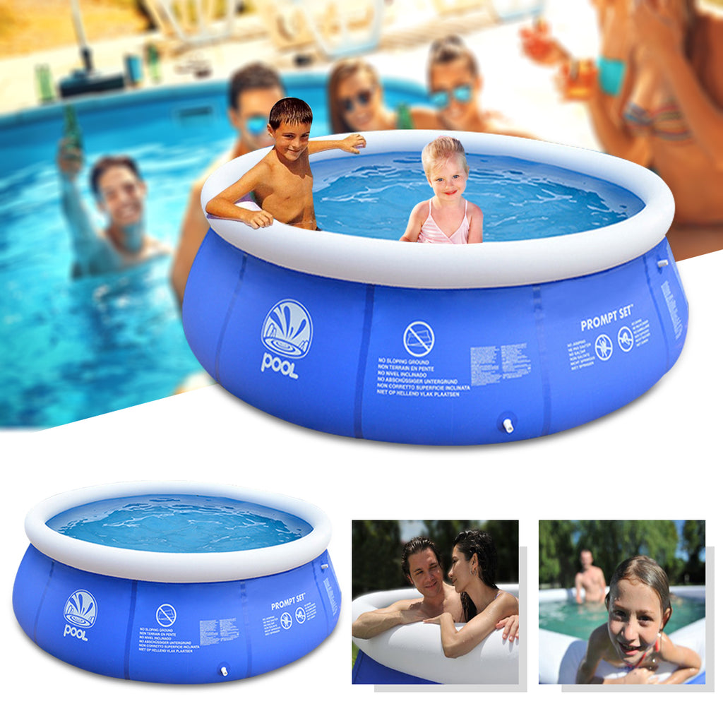 JILONG 2.4x0.63m/2.4x0.76m/3.0x0.76m/3.6x0.76m Blue Above Ground Inflatable Swimming Pool Family Play Bathtub Water Pool Inflatable Pool For Garden Adults Kids