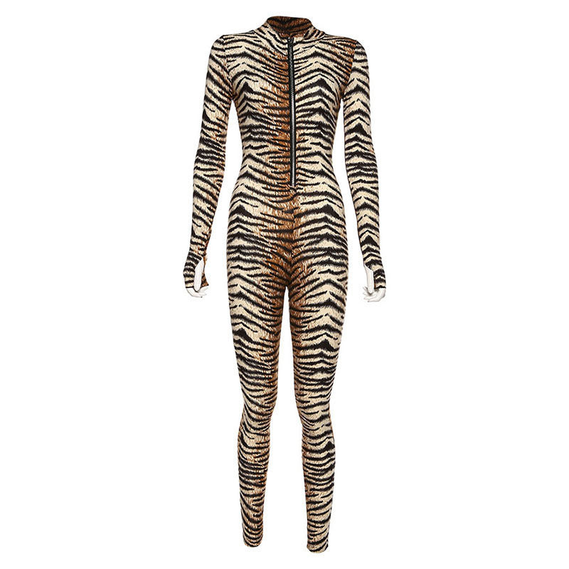 Fashion tiger print zipper sports fitness jumpsuit - Urban Fashion Store