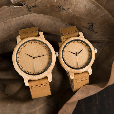 NEW Lovers' Bamboo Wood  Leather Band Watch - Urban Fashion Store