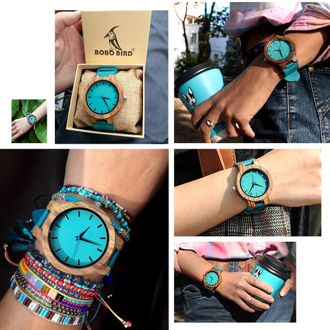 NEW Couple Zebra Wooden Turquoise Blue Watch - Urban Fashion Store