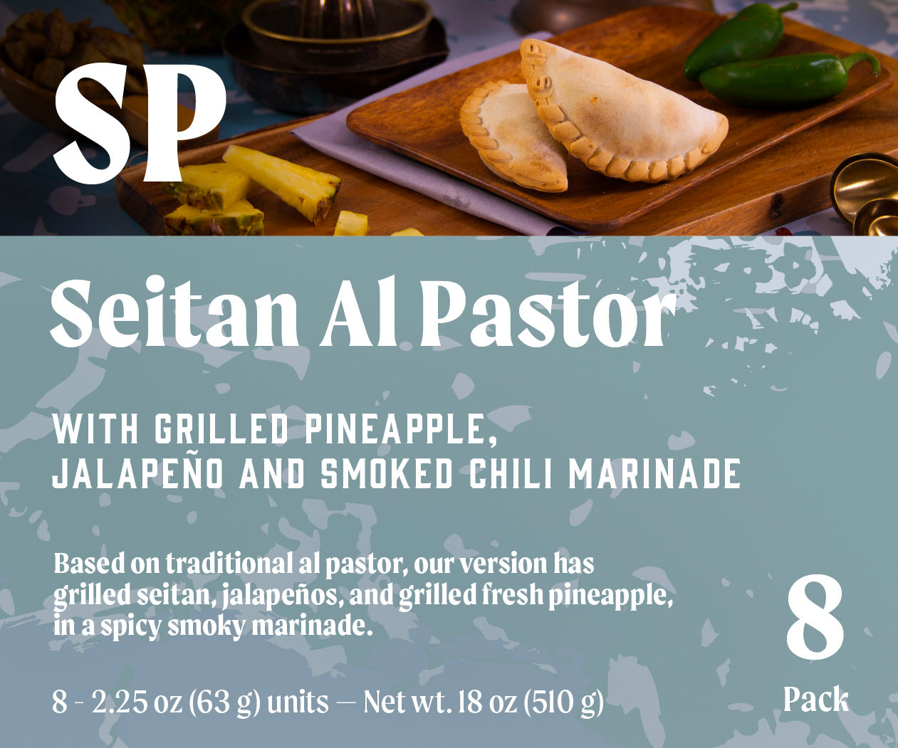Seitan al Pastor with grilled pineapple, jalapeno and smoked chili marinade
